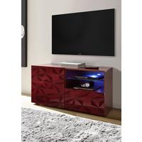 Brescia Small TV Unit - Gloss Red with Grey Stencil with optional LED spotlight by Andrew Piggott Contemporary Furniture