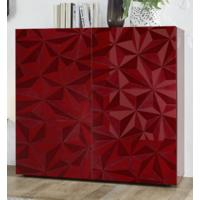 Brescia High Sideboard - Gloss Red Finish with Grey Stencil Print by Andrew Piggott Contemporary Furniture