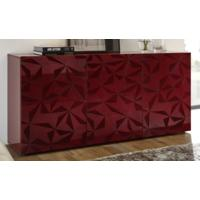 Brescia Three Door Sideboard - Gloss Red with Grey Stencil Print by Andrew Piggott Contemporary Furniture