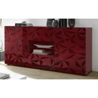 Brescia Two Door/Two Drawer Sideboard - Gloss Red with Grey Stencil by Andrew Piggott Contemporary Furniture