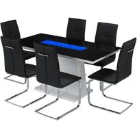 Curix (LED) dining table and Opus chairs