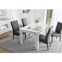 Brescia Dining Table 137cm - Gloss White Finish with Grey Stencil Print by Andrew Piggott Contemporary Furniture