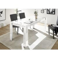 Brescia Dining Table 180cm - Gloss White with Grey Stencil Print by Andrew Piggott Contemporary Furniture