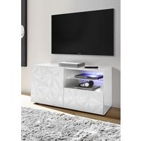 Brescia Small TV Unit - Gloss White with Grey Stencil with optional LED Spotlight by Andrew Piggott Contemporary Furniture