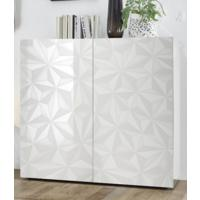 Brescia High Sideboard - Gloss White Finish with Grey Stencil Print by Andrew Piggott Contemporary Furniture