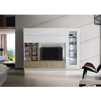Ferrara Wall Unit with Four LED Spotlights - Gloss White and Honey Oak by Andrew Piggott Contemporary Furniture