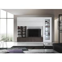Ferrara Wall Unit with Four  LED Spotlights - Gloss White and Wenge Oak by Andrew Piggott Contemporary Furniture