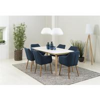 Nagane dining table and Nori (fabric) chairs by Icona Furniture