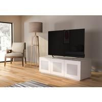 High Gloss White TV cabinet 140 cm with remote friendly doors
