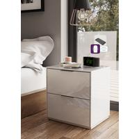 Smart Pure White Gloss Bedside Chest 2 Drawers with hidden wireless Phone Charging by Frank Olsen Furniture