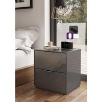 Smart Pure Grey Gloss Bedside Chest 2 Drawers with hidden wireless Phone Charging by Frank Olsen Furniture