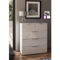 Smart Pure White Gloss Large Chest 5 Drawers with hidden wireless Phone Charging by Frank Olsen Furniture