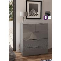 Smart Pure Grey Gloss Large Chest 5 Drawers with hidden wireless Phone Charging by Frank Olsen Furniture