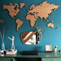 Wooden World Map Wall Art - Oak