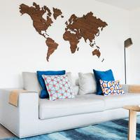 Wooden World Map Wall Art - Walnut by Red Candy