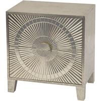 Coco Silver Embossed Metal 2 Drawer Bedside Table by The Libra Company