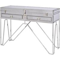 Duke Polished Silver Steel Two Drawer Console Table by The Libra Company