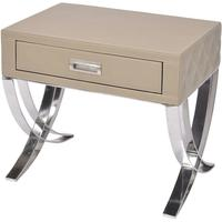 Ecclestone Beige Leather Bedside Table One Drawer