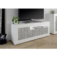 Como Three Door TV Unit Inc. LED Spot Light - White Gloss/Grey Finish by Andrew Piggott Contemporary Furniture