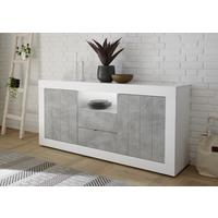 Como Two Door/Two Drawer Sideboard Inc. LED Spotlight - White Gloss/Grey Finish