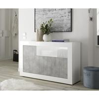 Como Three Door Sideboard Inc. LED Spotlight - White Gloss/Grey Finish by Andrew Piggott Contemporary Furniture