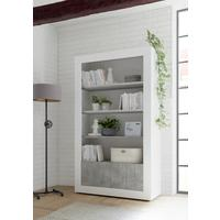 Como Two Door/Four Shelf Bookcase - White Gloss and Grey Finish