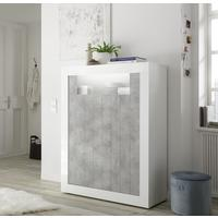 Como Two Door Highboard - White Gloss and Grey Finish