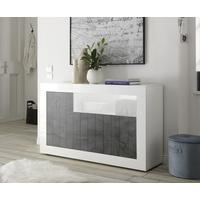Como Three Door Sideboard Inc. LED Spotlight - White Gloss/Anthracite Finish by Andrew Piggott Contemporary Furniture