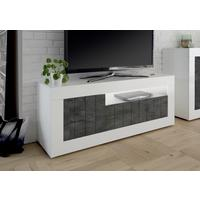 Como Three Door TV Unit Inc. LED Spot Light - White Gloss/Anthracite Finish by Andrew Piggott Contemporary Furniture