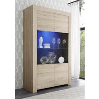 Bergamo Collection Two Door Display Vitrine with LED Spot Light - Kadiz Oak Finish by Andrew Piggott Contemporary Furniture