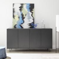 Modena Four Door Sideboard - Grey with Pinstripe Stencil Finish by Andrew Piggott Contemporary Furniture