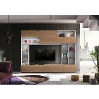 Novara TV  and Wall Storage System  White and Walnut Finish by Andrew Piggott Contemporary Furniture