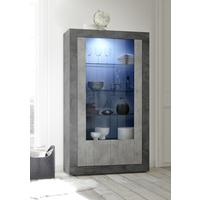 Como Two Door Display Vitrine Inc. LED Spotlight - Anthracite and Grey Finish by Andrew Piggott Contemporary Furniture