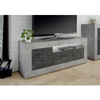 Como Three Door TV Unit Inc. LED Spot Light - Grey and Anthracite Finish by Andrew Piggott Contemporary Furniture
