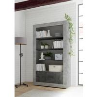 Como Two Door/Four Shelf Bookcase - Grey and Anthracite Finish