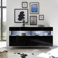 Genova Four Door Display Sideboard with Two LED Lights - Black Gloss Lacquer finish with Black and White Fabric Insert by Andrew Piggott Contemporary Furniture