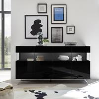 Genova Four Door Display Sideboard with Two LED Lights - Black Gloss Lacquer finish by Andrew Piggott Contemporary Furniture