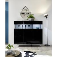 Genova Three Door Display Highboard with Two LED Lights - Black Gloss Lacquer finish with Black and White Fabric Insert by Andrew Piggott Contemporary Furniture