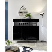 Genova Three Door Display Highboard with Two LED Lights - Black Gloss Lacquer finish by Andrew Piggott Contemporary Furniture