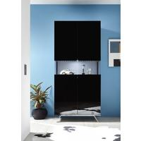 Genova Two Door Display Vitrine with LED Light - Black Gloss Lacquer finish with Black and White Fabric Insert by Andrew Piggott Contemporary Furniture