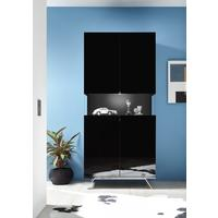 Genova Two Door Display Vitrine with LED Light - Black Gloss Lacquer finish by Andrew Piggott Contemporary Furniture