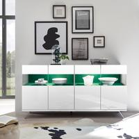Genova Four Door Display Sideboard with Two LED Lights - White Gloss Lacquer finish with Green Fabric Insert by Andrew Piggott Contemporary Furniture