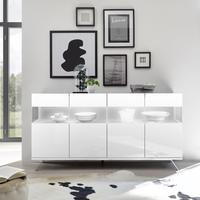 Genova Four Door Display Sideboard with Two LED Lights - White Gloss Lacquer finish by Andrew Piggott Contemporary Furniture