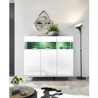 Genova Three Door Display Highboard with Two LED Lights - White Gloss Lacquer finish with Green Fabric Insert by Andrew Piggott Contemporary Furniture