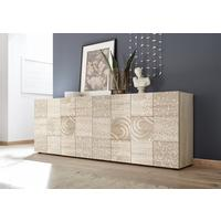 Messina Four Door Sideboard - Samoa Oak with Decorative Stencil by Andrew Piggott Contemporary Furniture