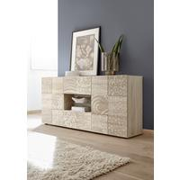 Messina Two Door/Two Drawer Sideboard - Samoa Oak with Decorative Stencil by Andrew Piggott Contemporary Furniture