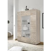 Messina Two Door Display Cabinet incl LED Spotlight - Samoa Oak with Decorative Stencil