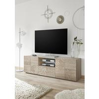 Messina Large TV Unit - Samoa Oak with Decorative Stencil