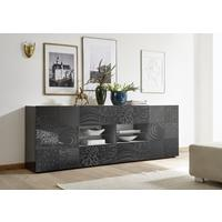 Messina Two Door/Four Drawer Sideboard - Grey Gloss Lacquer Finish with Decorative Stencil