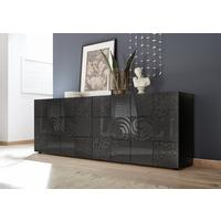 Messina Four Door Sideboard - Grey Gloss Lacquer Finish with Decorative Stencil